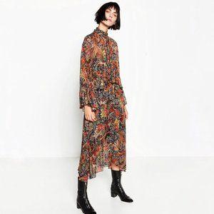 EUC Zara floral paisley ruffle boho midi dress